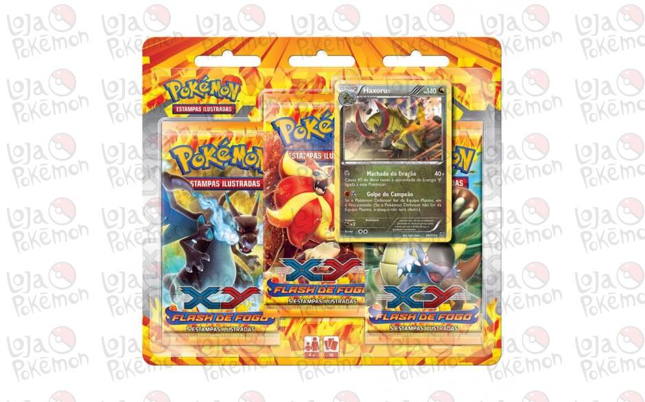 Triple Pack Pokémon - Coleção Flash de Fogo - Haxorus